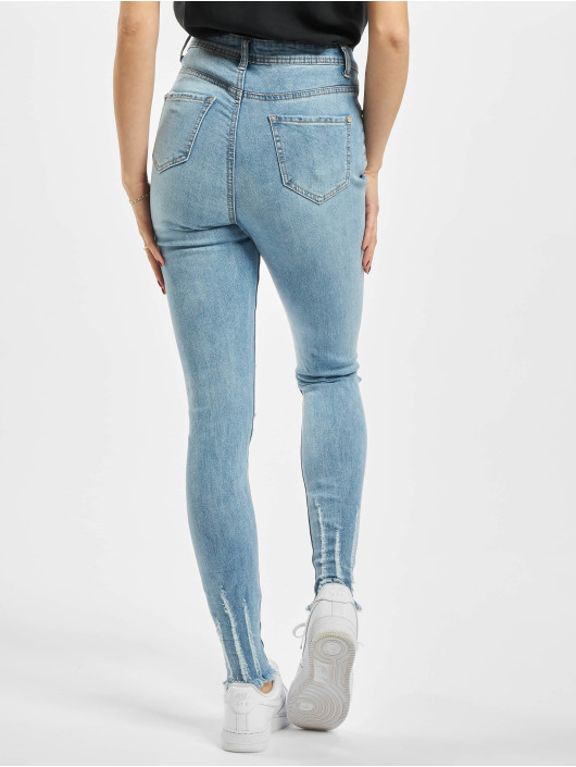 Missguided High Waisted Jeans Authentic Rip Wash Skinny синий