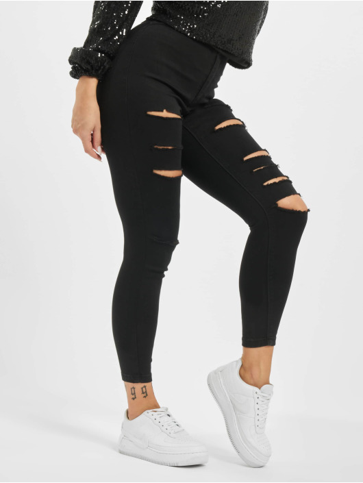 Missguided High Waisted Jeans Petite Vice Rip Skinny High Waist черный