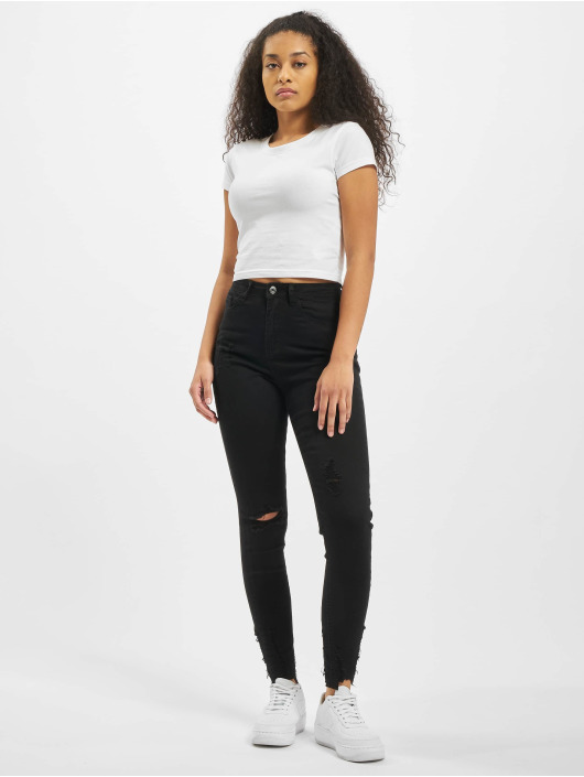 Missguided High Waisted Jeans Sinner Destroyed Hem Skinny Highwaisted black