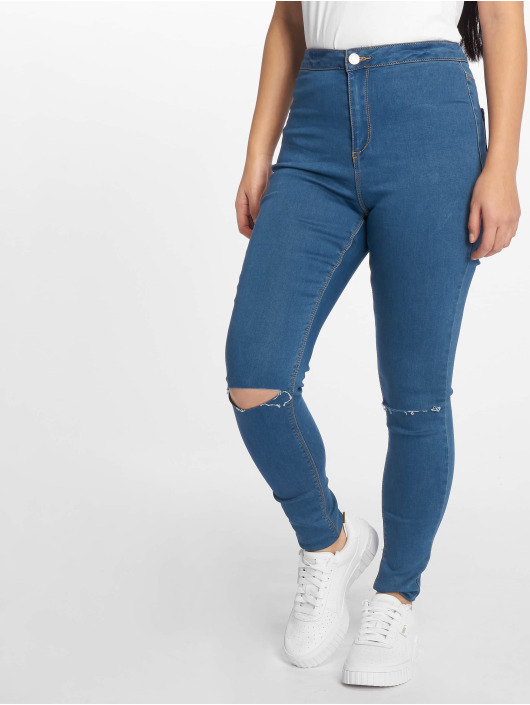 Missguided High Waisted Jeans Vice Highwaisted Slash Knee blue