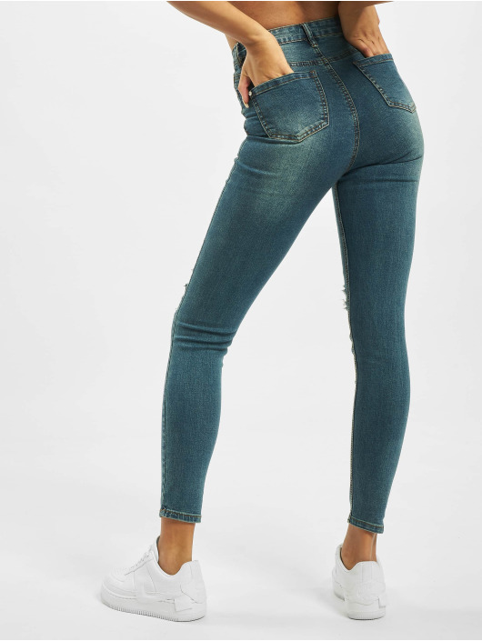 Missguided High Waisted Jeans Sinner Distress Knee Cut High Waist modrá