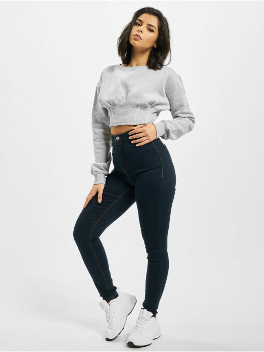 Missguided High Waisted Jeans Vice modrý