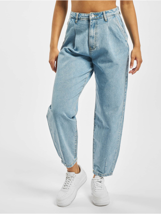 Missguided High Waisted Jeans Slouch Pleat Detail modrý
