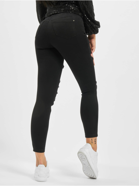 Missguided High Waisted Jeans Petite Vice Rip Skinny High Waist zwart