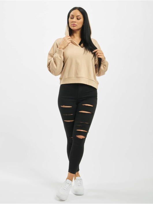 Missguided Hoodie Tall Oversized Notch Neck beige
