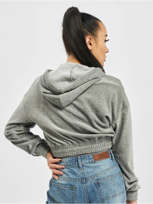 Missguided Hoodie Ribbed Velour Lounge gray