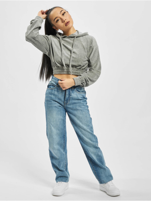 Missguided Hoodie Ribbed Velour Lounge grey