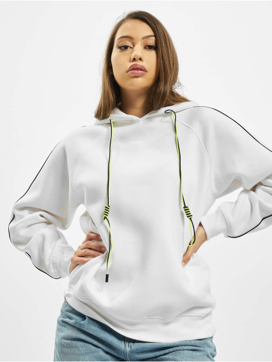 Missguided Hoodie Co Ord Contrast Seam Toggle Detail white