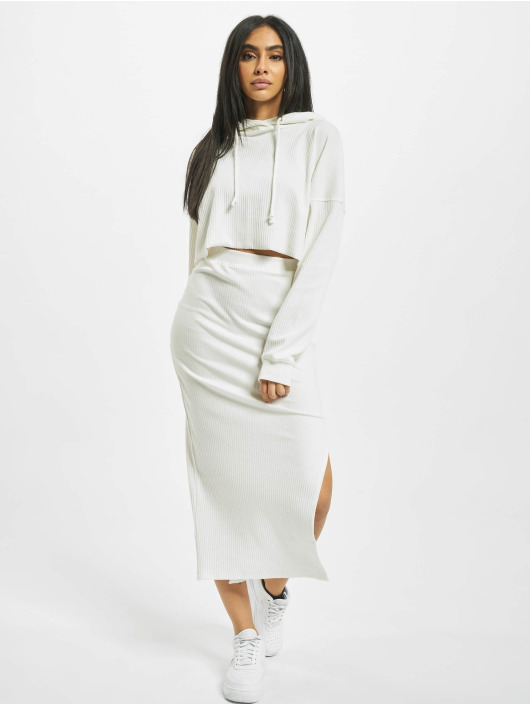 Missguided Hoodie Ribbed Oversized Crop white