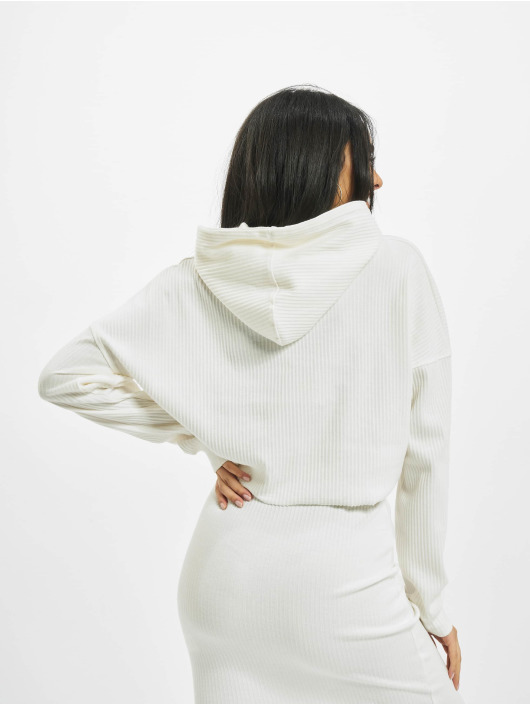 Missguided Hoodies Ribbed Oversized Crop bílý