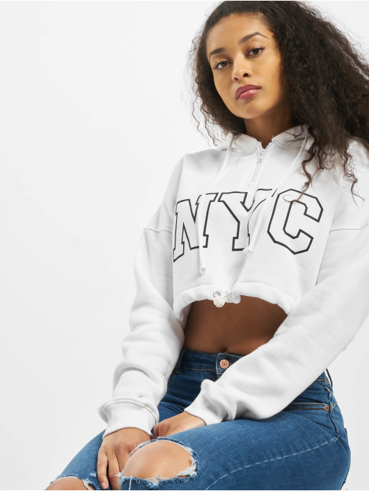 Missguided Hoody Co-Ord NYC Drawstring Cropped weiß