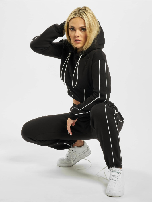 Missguided Hoody Co Ord Corset Pipe Detail Crop zwart