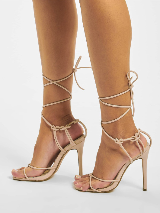 Missguided Japonki Super Strappy Square Toe Barley bezowy