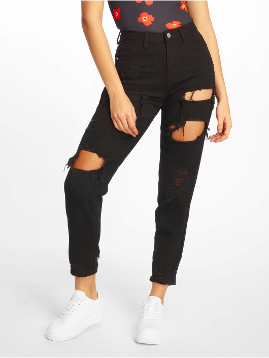 Missguided Jean coupe droite Riot High Rise Ripped noir
