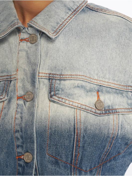 Missguided Jean Jakker Ombre Wash Cropped Denim blå