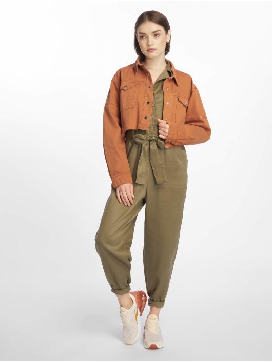 Missguided Jean Jakker Contrast Stitch Cropped brun
