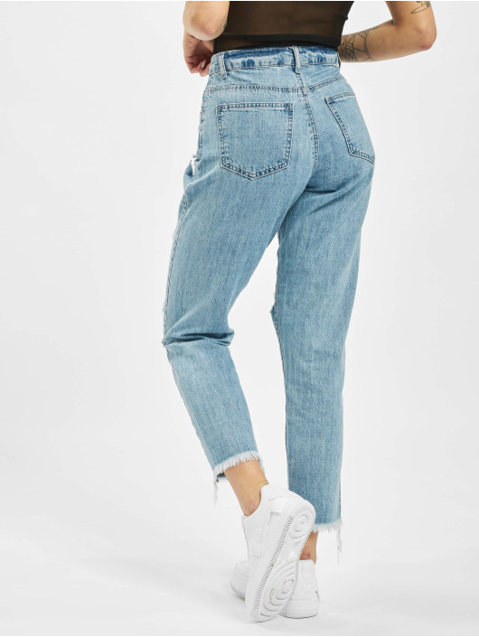 Missguided Jeans Maman Riot High Rise Slit Rip bleu