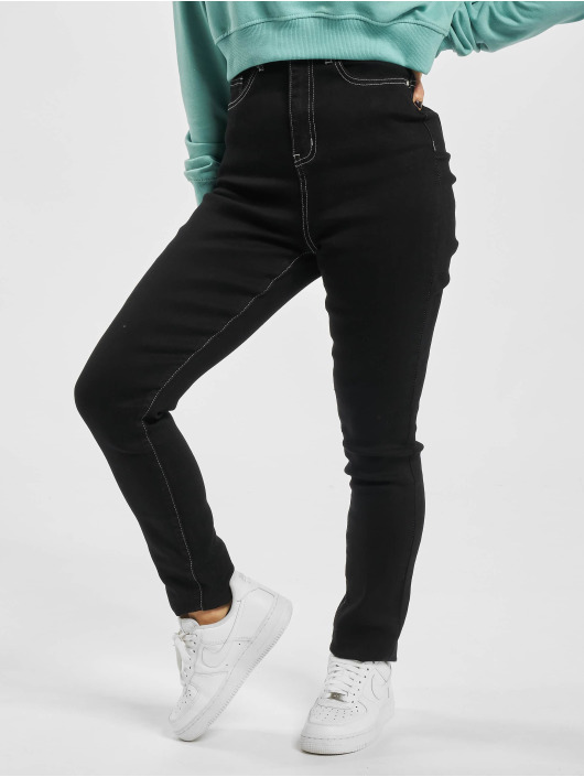 Missguided Jeans slim fit Mg X Assets Contrast Stitch Sinner nero