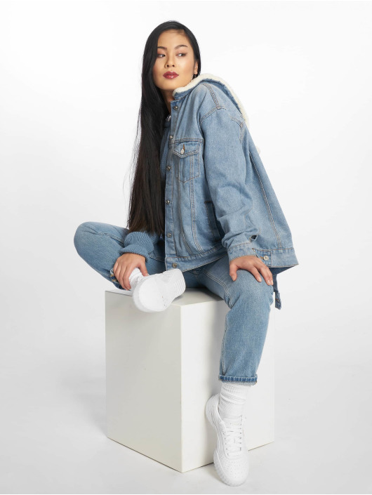 Missguided Jeansjacken Oversized Teddy Faux Fur blau