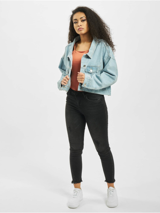 Missguided Jeansjacken Drop Hem Oversized blau
