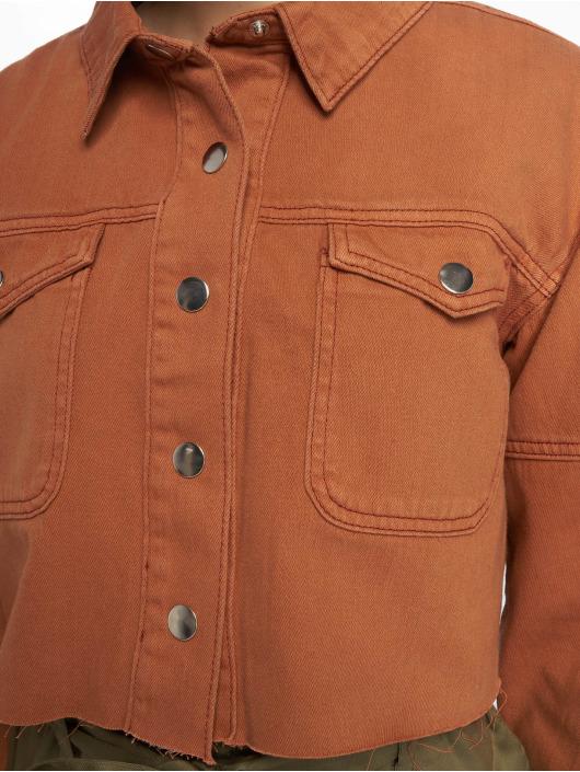 Missguided Jeansjacken Contrast Stitch Cropped braun