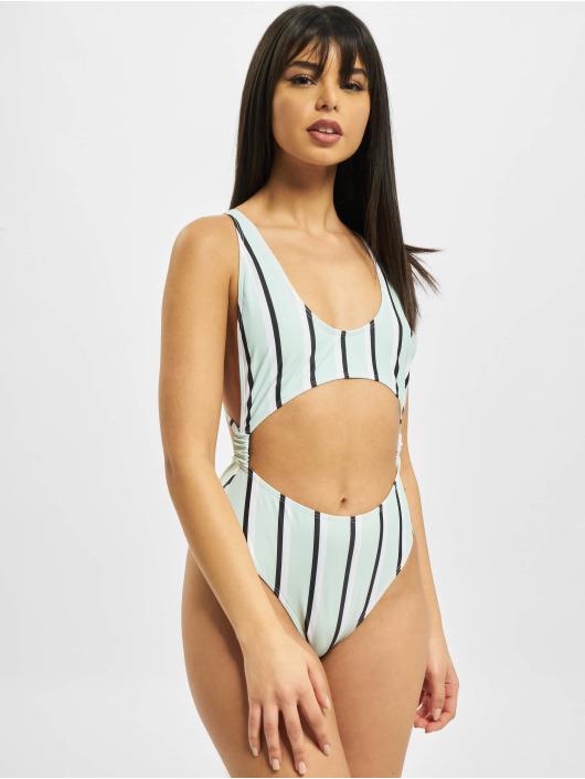 Missguided Jednodílné plavky Stripe Cut Out zelený