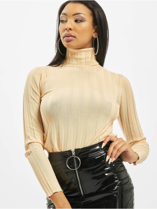 Missguided Jersey High Neck Rib Long Sleeve Knitted beis
