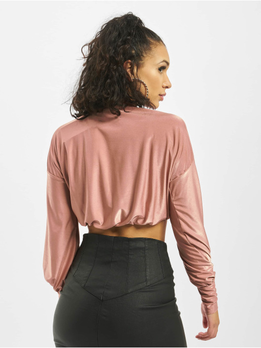Missguided Jersey Shimmer Puff Sleeve High Neck Croped rosa