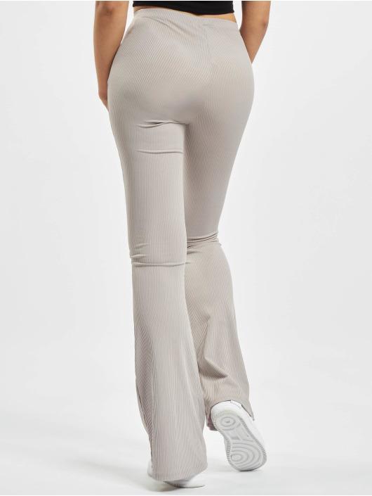 Missguided Jogging kalhoty Ribbed Flare šedá