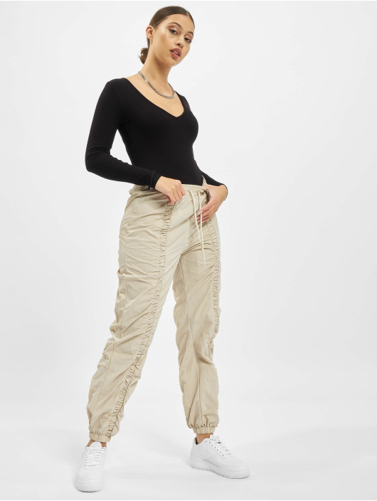 Missguided Joggingbyxor Nylon Ruched Front Oversized beige