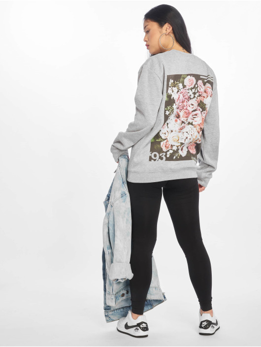 Missguided Jumper Floral Graphic Back Print grey