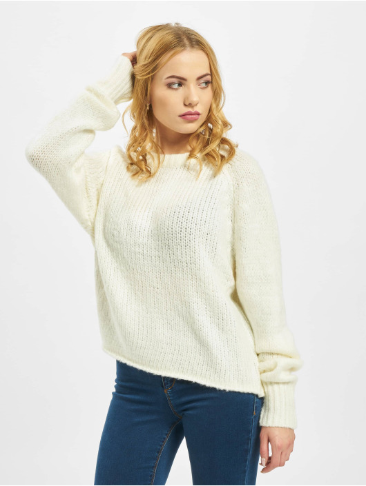 Missguided Jumper Petite Crew Neck With Rolled Hem white