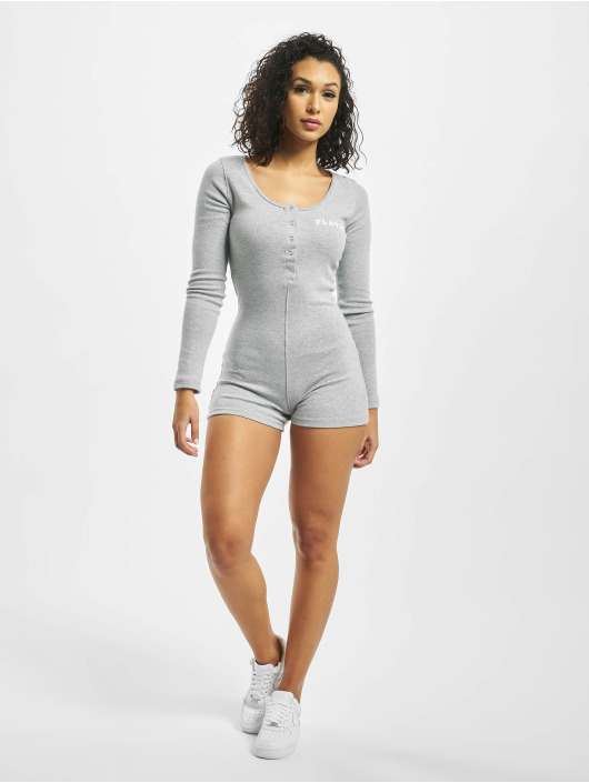 Missguided Jumpsuit Playboy Ribbed Longsleeve Button Front grau