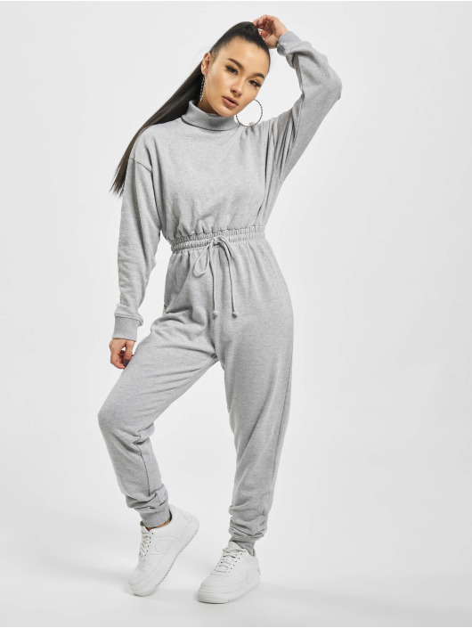 Missguided Jumpsuit Roll Neck Drop grau