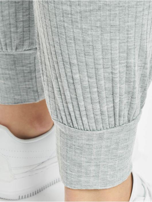 Missguided Jumpsuit Rib Long Sleeve Tie Waist grigio