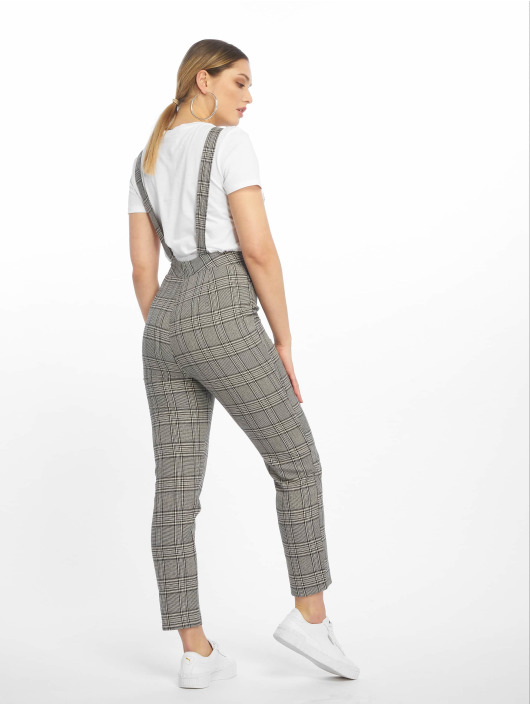 Missguided jumpsuit Grey Check grijs
