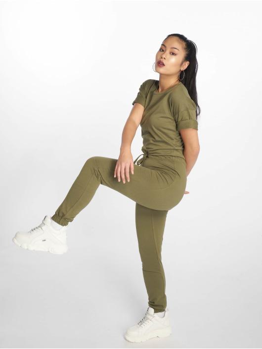 Missguided Jumpsuit Slouch Drawstring Short Sleeve khaki