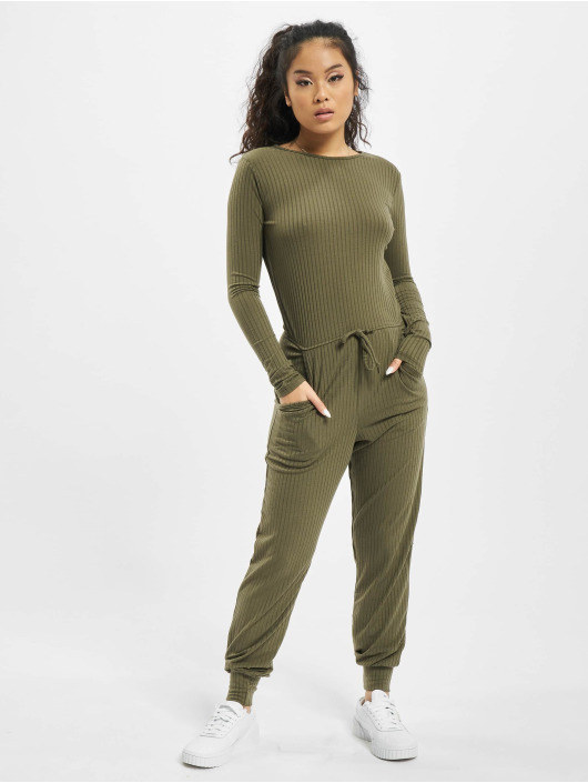 Missguided Jumpsuit Rib Long Sleeve Tie Waist khaki