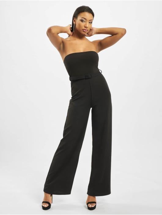Missguided Jumpsuit Bandeau Self Buckle Wide Leg nero