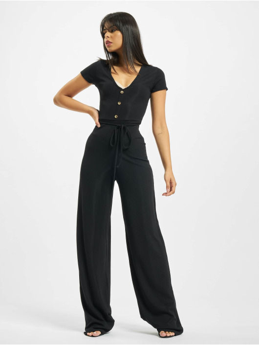 Missguided Jumpsuit Rib V Front Button nero
