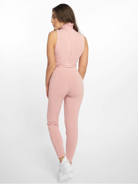 Missguided jumpsuit Roll Neck Ribbed pink