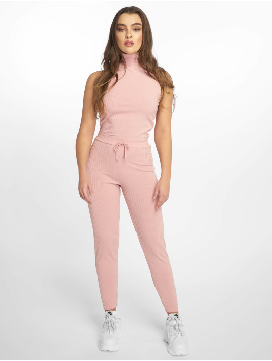 Missguided Jumpsuit Roll Neck Ribbed rosa