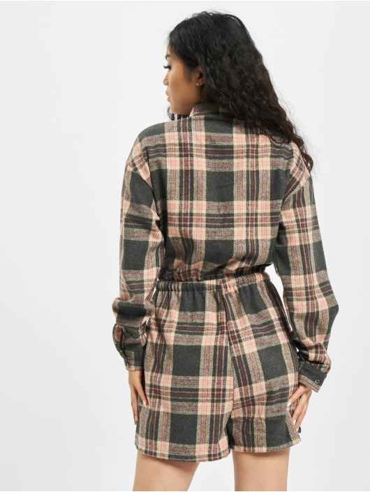 Missguided Jumpsuit Brushed Flannel LS Check rosa