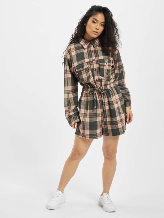 Missguided Jumpsuit Brushed Flannel LS Check rosa chiaro
