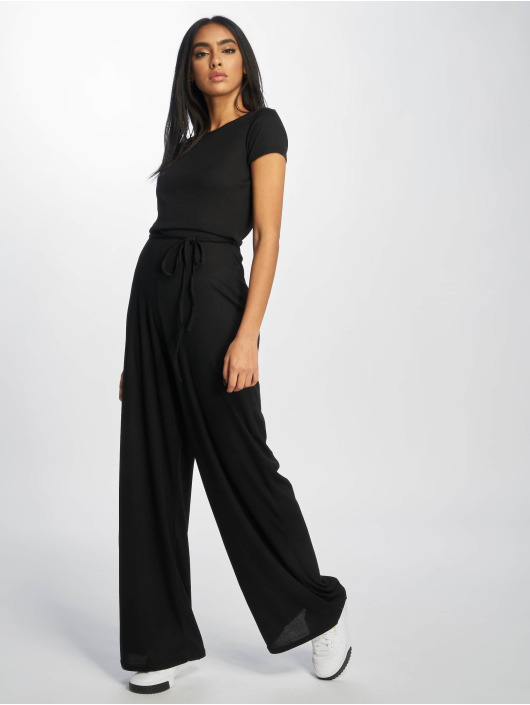 Missguided Jumpsuit Rib Short Sleeve Wide Leg schwarz
