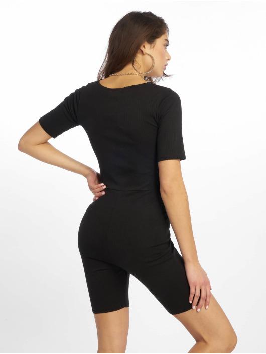 Missguided Jumpsuit Raw Edge Rib Short Sleeve Unitard schwarz
