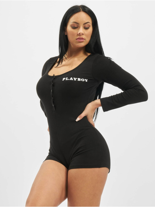 Missguided Jumpsuit Playboy Ribbed Longsleeve Button Front schwarz