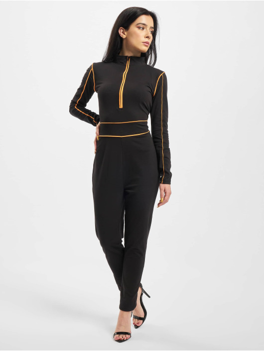 Missguided Jumpsuit High Neck Contrast Piping schwarz