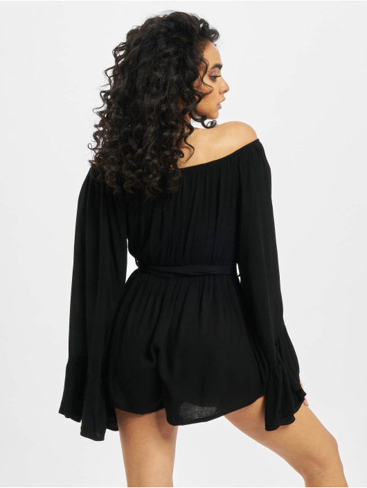 Missguided Jumpsuit Bardot Crinkle schwarz