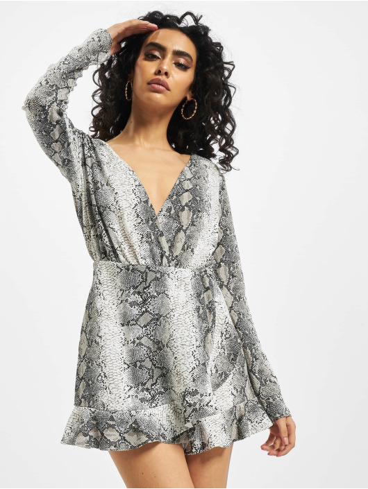 Missguided Jumpsuit Snake Print Frill Detail Play schwarz